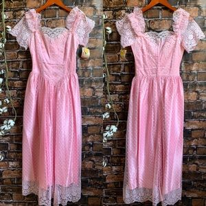 Deadstock Vintage 80s Pink Puff Sleeve Formal